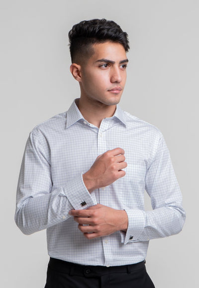 Classic Fit French Cuffs Blue Checked Dress Shirt in Egyptian Giza Cotton - Cuffz