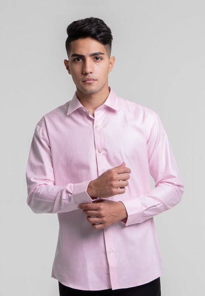 Slim Fit Pink Micro Twill Dress Shirt In Egyptian Giza Cotton - Cuffz