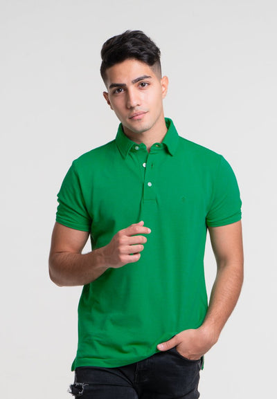 Men's Short Sleeve Polo With Logo Embroidery (Green) - Cuffz