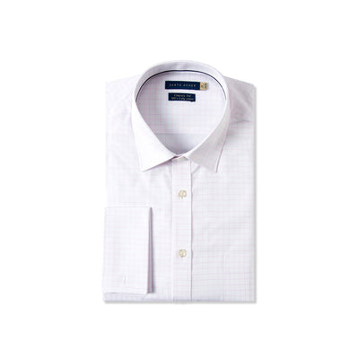 Classic Fit French Cuffs Dress Shirt With Pink Check Motif In Egyptian Giza Cotton - Cuffz