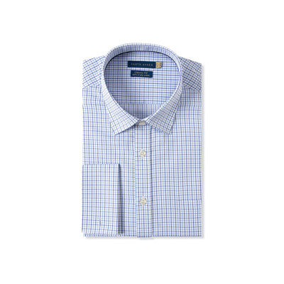 Classic Fit Blue French Cuffs Dress Shirt With Check Motif in Egyptian Giza Cotton - Cuffz