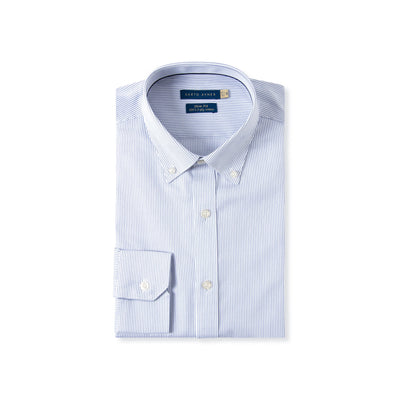 Slim Fit Blue Pinstripe Dress Shirt In Egyptian Giza Cotton - Cuffz