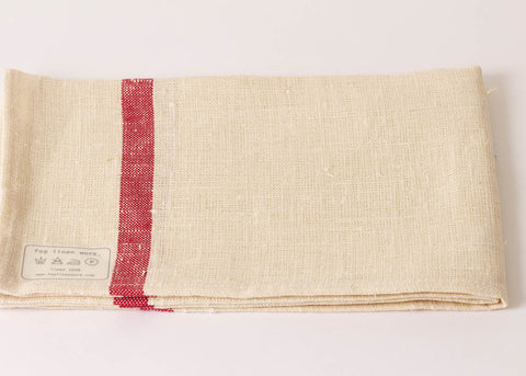 Fog Linen Work Linen kitchen Cloth - Red Stripe