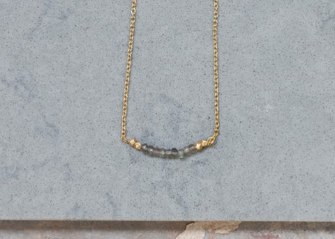 Nkuku Kitara Bead Necklace | Labradorite & Gold