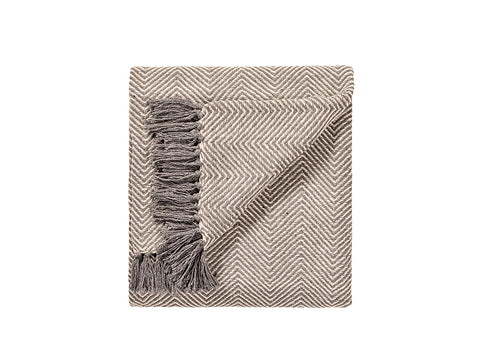 Namaste Cotton Handloom Throw | Dark Slate Herringbone