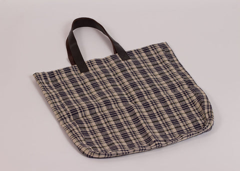 Fog Linen Work Linen tote bag | navy ecru plaid