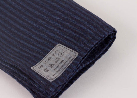 Fog Linen Work Linen Kitchen Cloth - Indigo Stripe