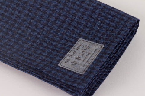 Fog Linen Work Linen Kitchen Cloth - Indigo Check