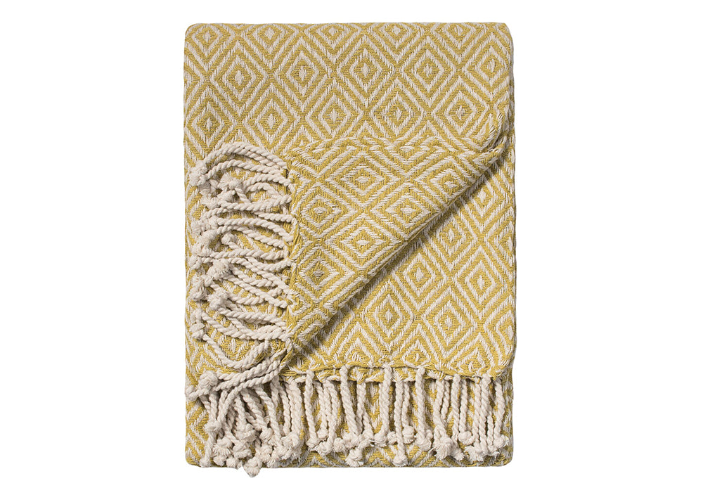 Namaste Cotton Handloom Throw | Old Gold