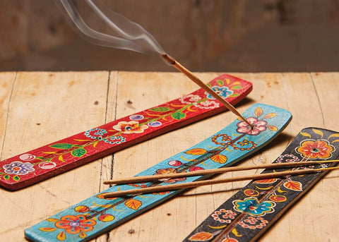 Namaste Hand Painted Incense Holder | Black