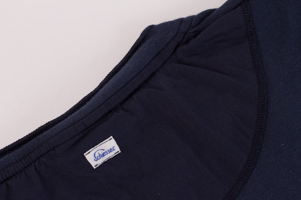 Schiesser Original 1/2 Button Short Sleeve - Indigo
