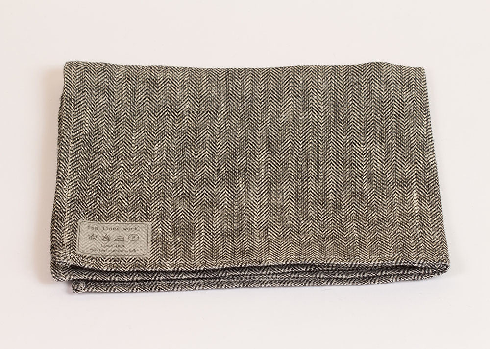 Fog Linen Work Linen Kitchen Cloth - herringbone