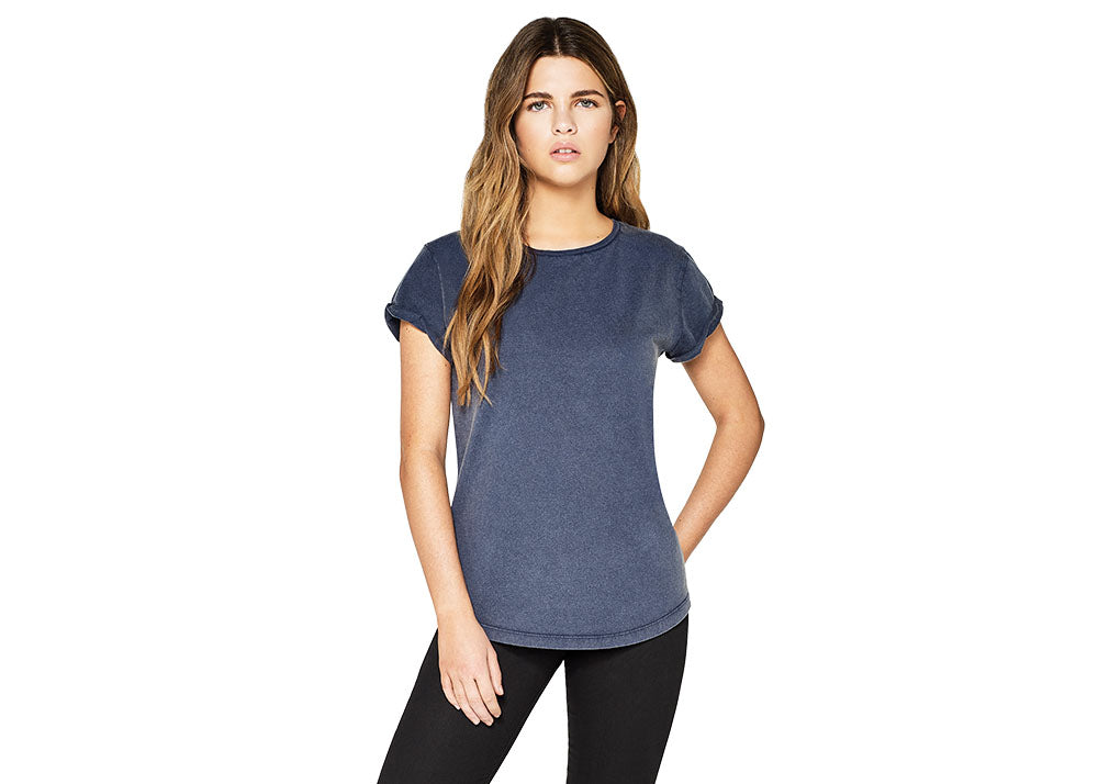 Earth Positive Women's Organic Rolled Sleeve T-Shirt | Stonewash Blue