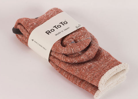 Rototo Merino Double Face Socks | Red Leaf