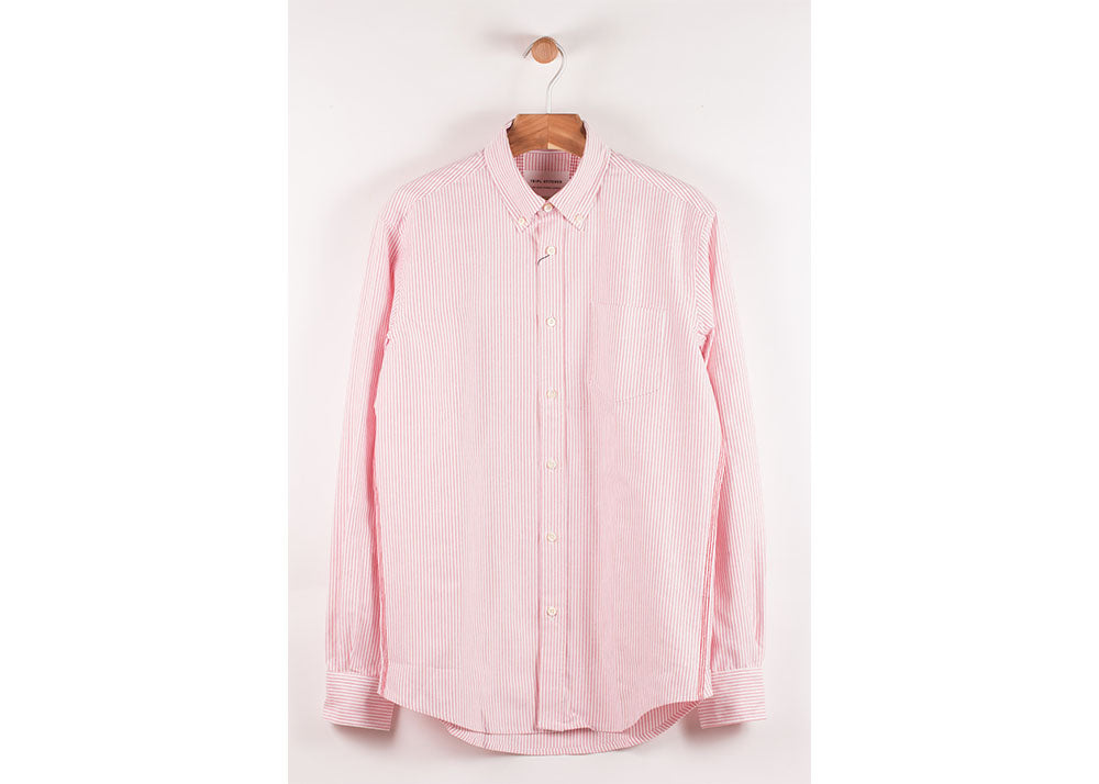Tripl Stitched Classic Button Down | Pink Oxford Stripe