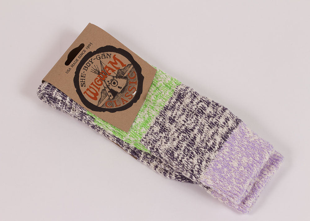 Wigwam Tri-colour Ragg Sock - Purple
