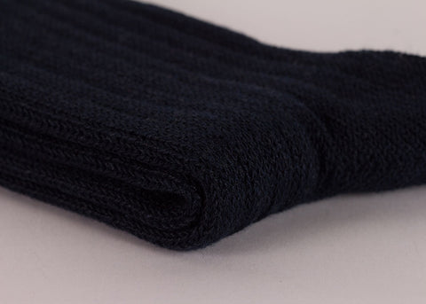 Rototo Cotton Linen Rib Socks | Navy