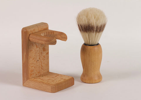 Bürstenhaus Redecker Shaving Brush & Stand  | Beechwood & Natural Bristle