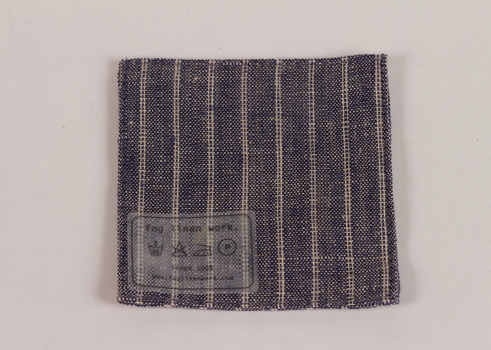 Fog Linen Work Linen coaster | Indigo Stripe Wide