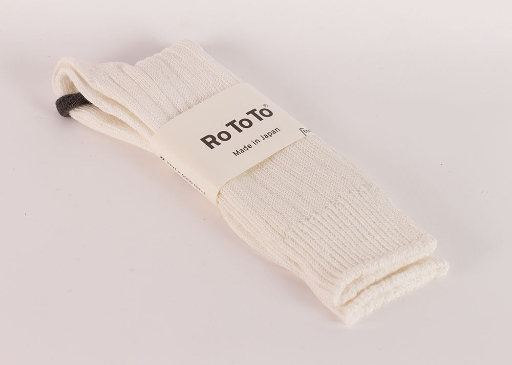 Rototo Cotton Linen Rib Socks | Off White