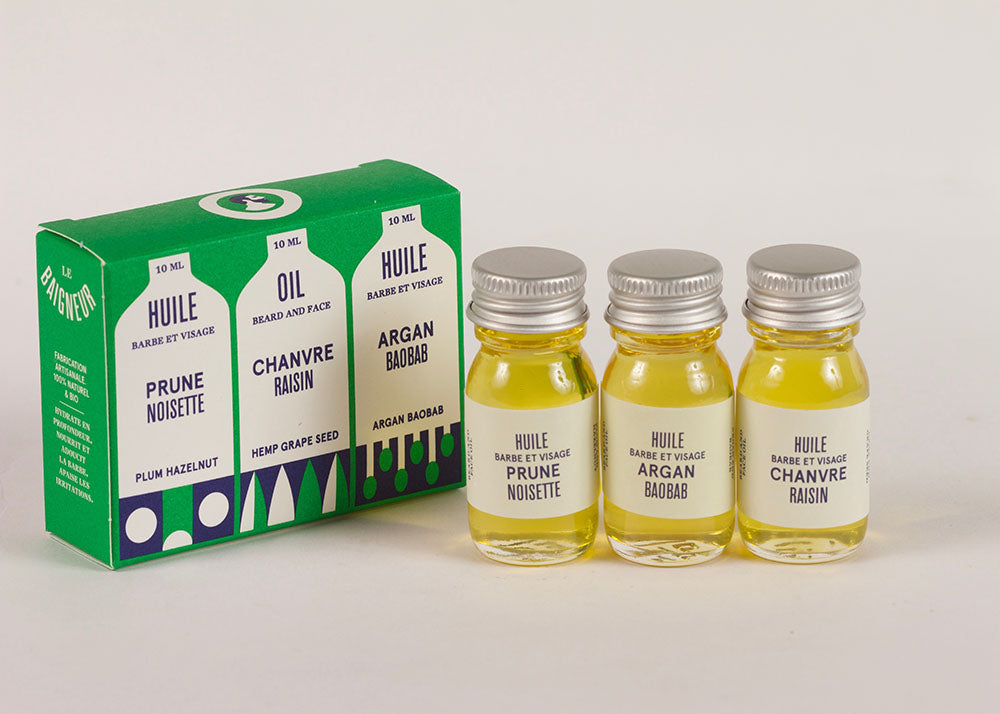 Le Baigneur Mini Beard & Face Oil | Set of 3