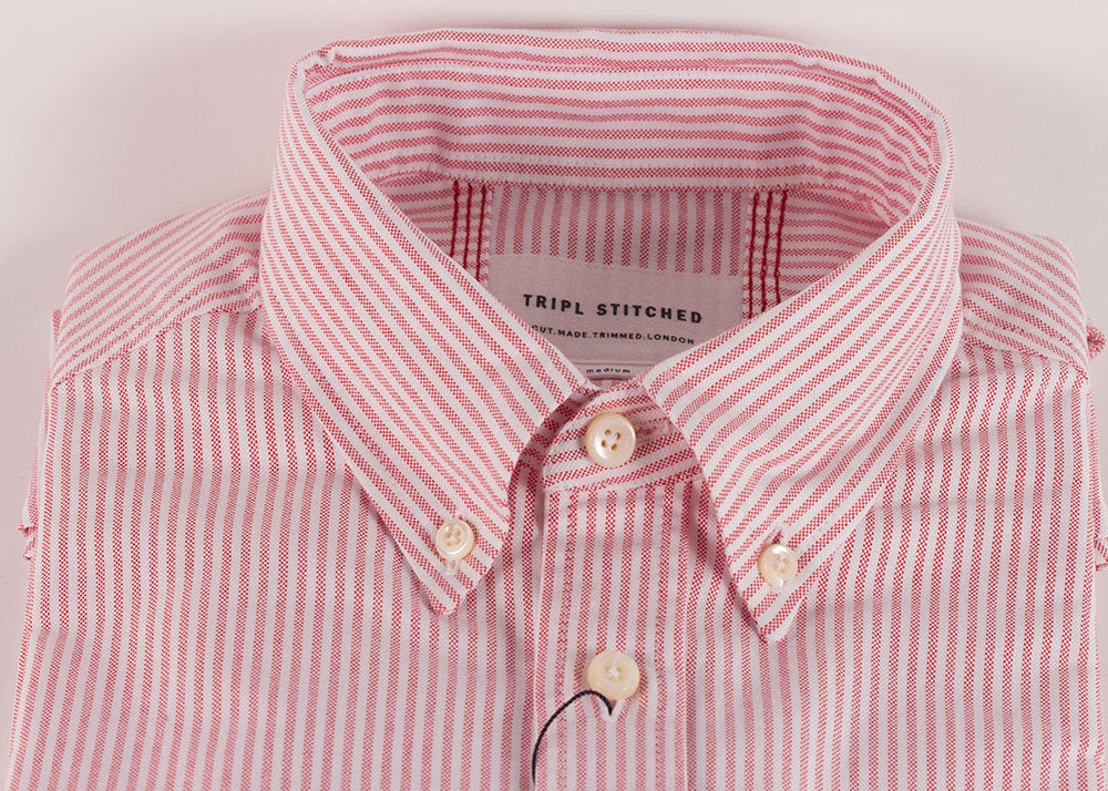 Tripl Stitched Oxford Cloth BD | Pink Candy Stripe