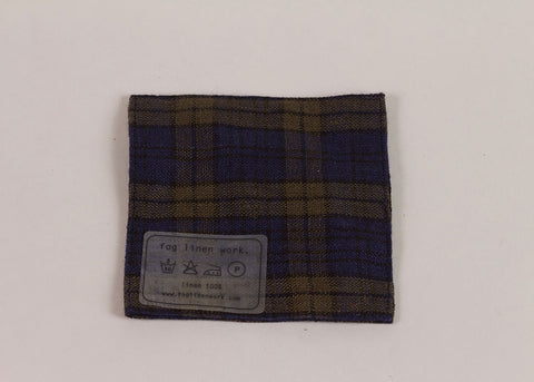 Fog Linen Work Linen coaster | Navy & Khaki Check
