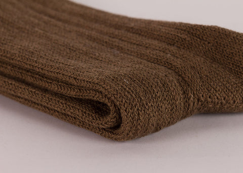Rototo Cotton Linen Rib Socks | Khaki