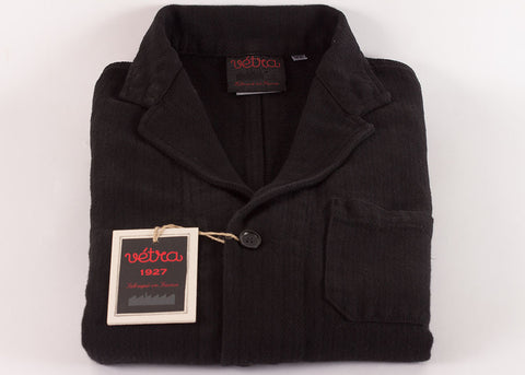 Vetra Cotton Linen Herringbone Blazer | Black