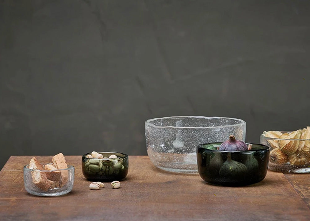 Nkuku Riya Glass Bowl  | Dark Emerald