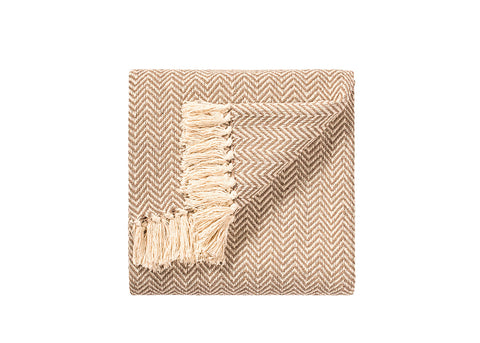 Namaste Cotton Handloom Throw | Light Camel Herringbone