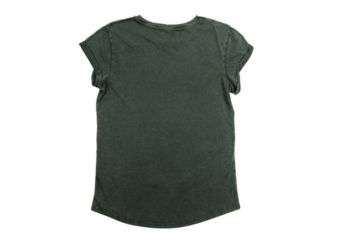 Earth Positive Women's Organic Rolled Sleeve T-Shirt | Stonewash Green