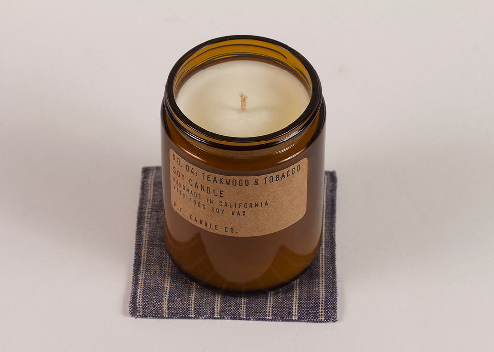 PF CANDLE CO NO. 04 TEAKWOOD & TOBACCO SOY CANDLE