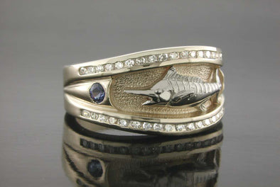 Ladies Sapphire & Diamond Marlin Platform Ring