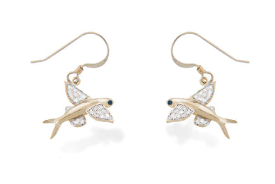 Ladies Gold and Diamond Flying fish Dangle Earrings