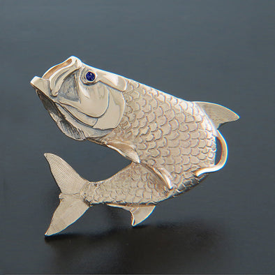 Gold Medium Jumping Tarpon Pendant