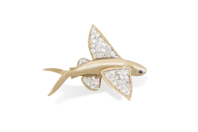 14K Gold Diamond Flying Fish Pendant