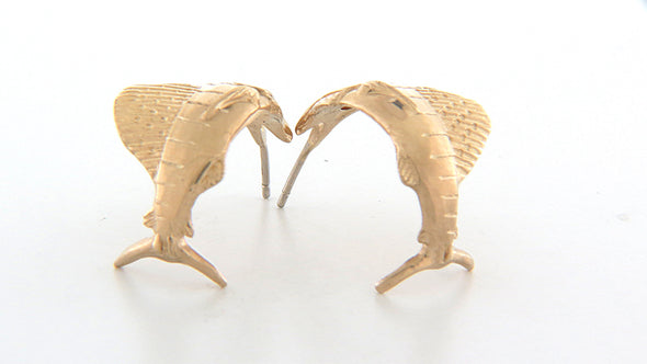Sailfish Jay Hoop 14K Yellow Gold Earrings