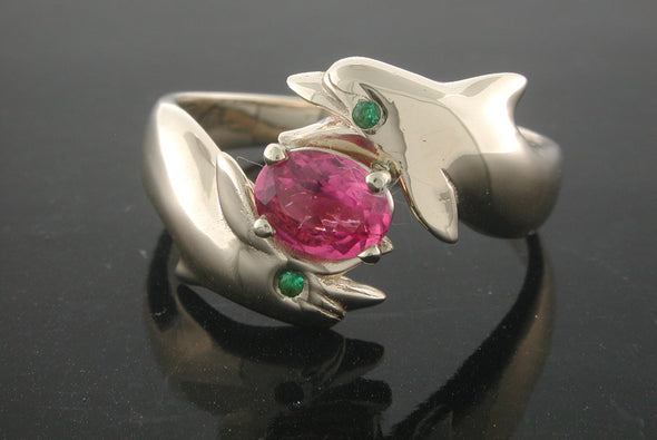 Double Porpoise and Pink Tourmaline Ring
