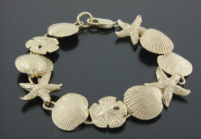 14K Gold Mixed Shells Bracelet