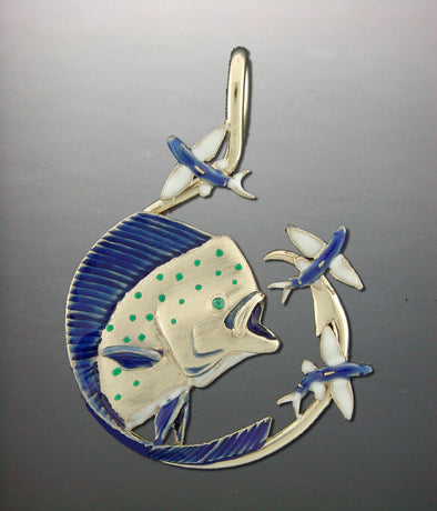 Mahi Busting Flying Fish Pendant