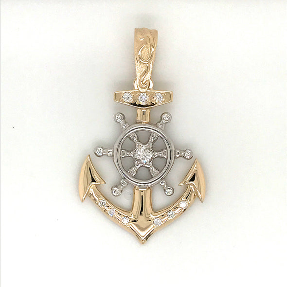 Large Diamond Anchor/ Helm Pendant