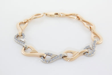 Three Diamond Gold Hooks Ladies Multi Hooked Up Bracelet