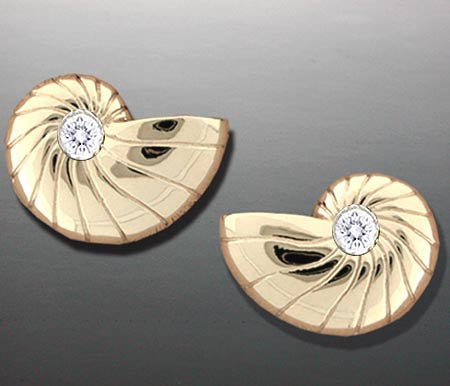 Diamond Nautilus Shell Earrings