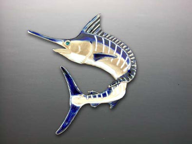 Enameled Jumping Blue Marlin Pendant