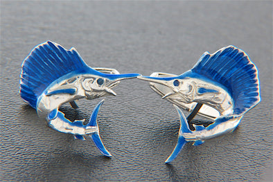 Sterling Silver Sailfish Cuff Links with Blue Enamel