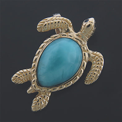 Logger Head Sea Turtle with Larimar Shell Pendant