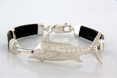 Silver Marlin Black Leather Bracelet