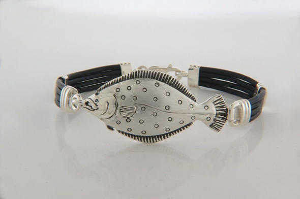 Flounder Black Leather Bracelet