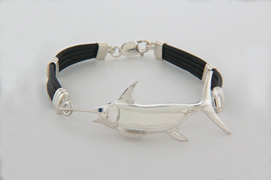 Swordfish Black Leather Bracelet